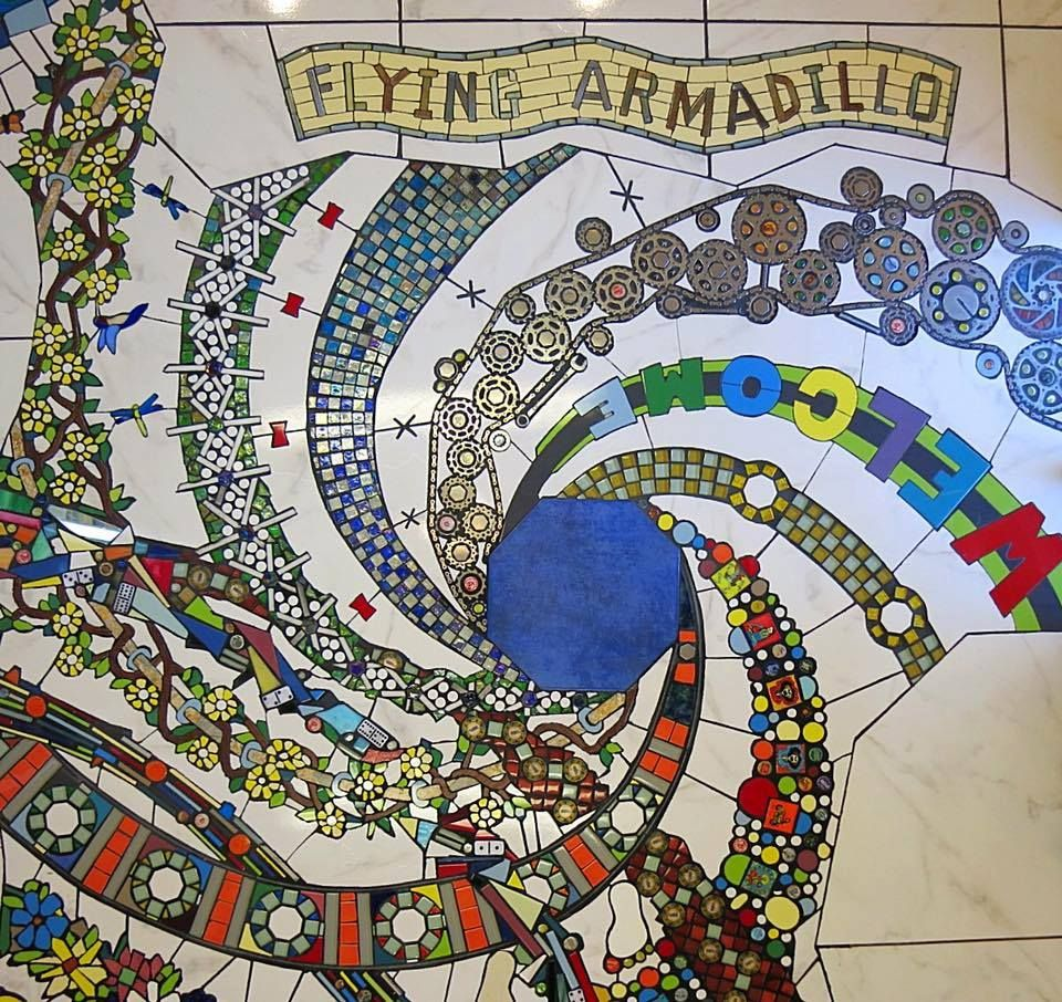 Sold custom made butterfly mosaic table top for mary ann in texas - Mosaic Floor In The Flying Armadillo Disc Golf Club Pro Shop Photo Detail