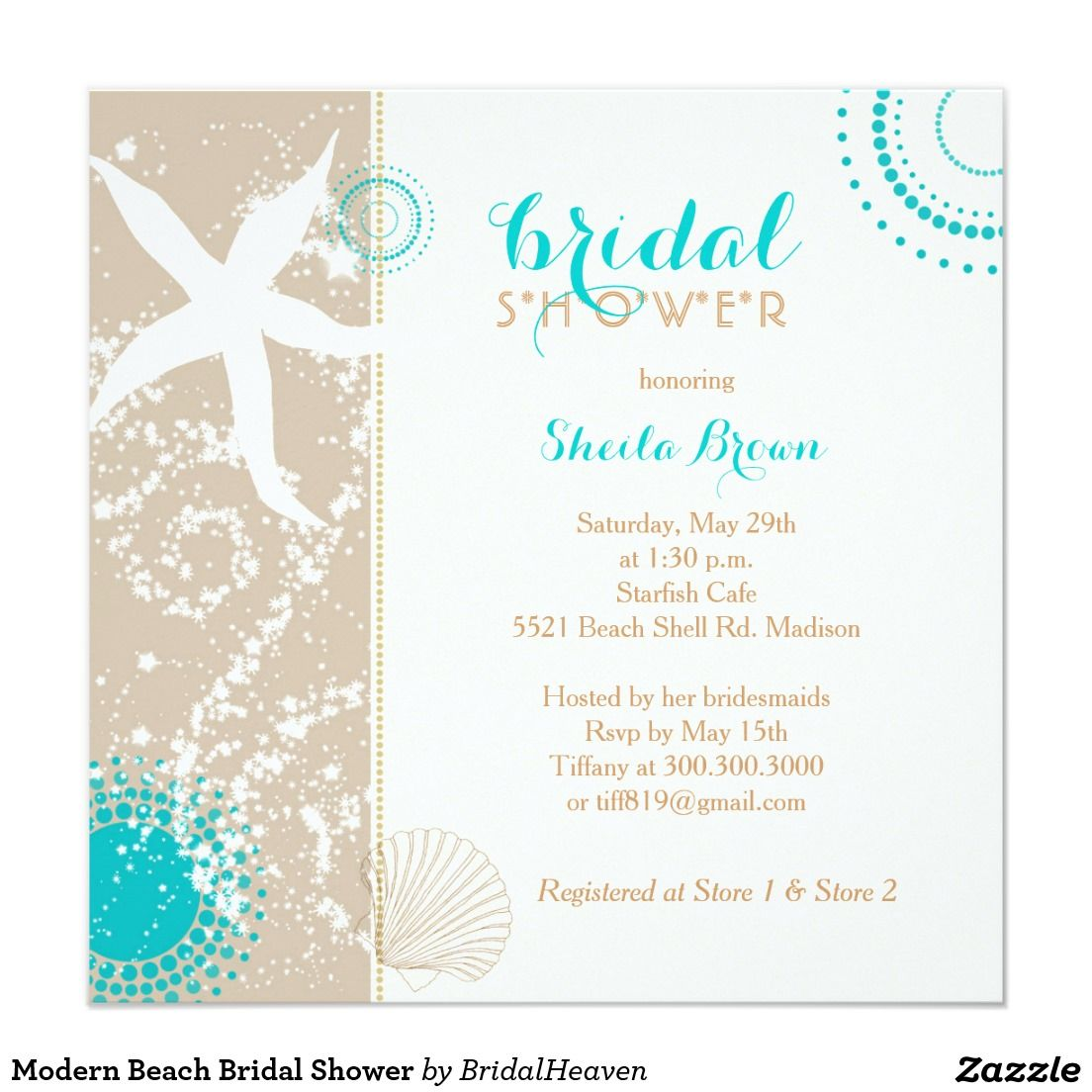 Modern Beach Bridal Shower Card | Beach bridal showers, Bridal ...