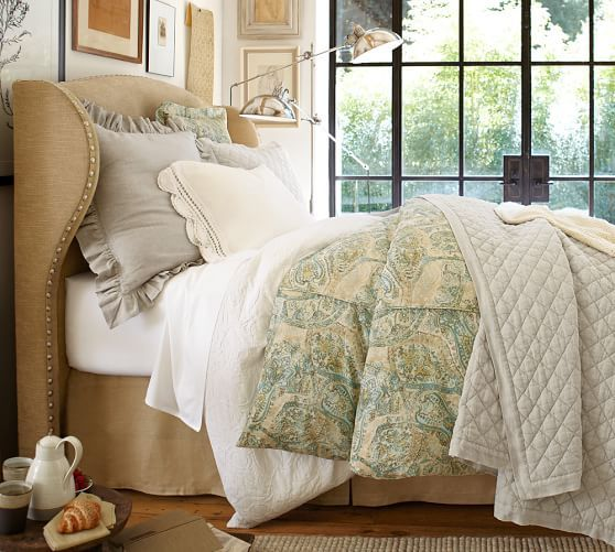Raleigh Upholstered Wingback Bed & Headboard   Pottery Barn This is the wingback headboard I told you about. I think it's very elegant and cozy. Just ideas I'm throwing out.