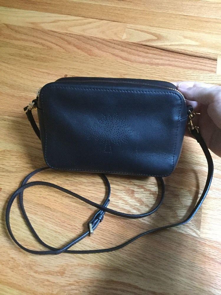 babd2a2c93 Mulberry Blossom Pochette Black Leather Mini Crossbody Bag Wristlet Pouch |  eBay