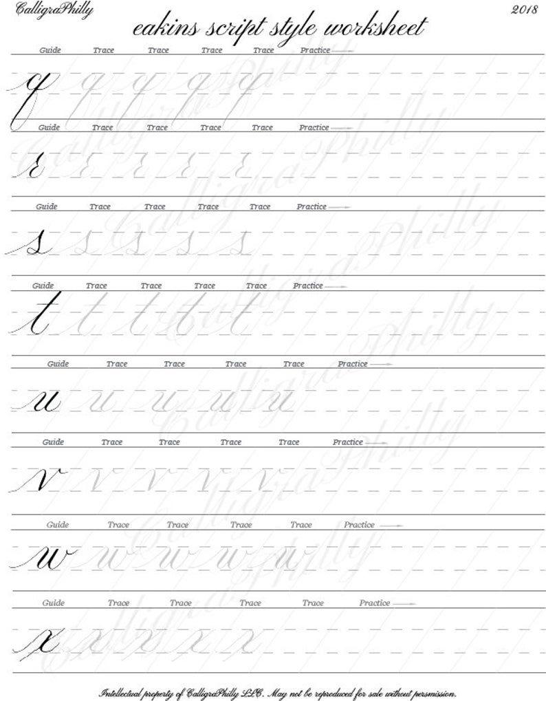 Beginner Level 1 Copperplate Calligraphy Alphabet Worksheet With Stroke Guidelines Blank Practice Sheet Digital Download Worksheet Copperplate Calligraphy Alphabet Worksheets Calligraphy For Beginners