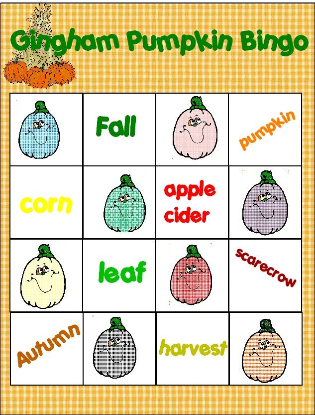Free Printable Gingham Pumpkin Bingo Cards | Fall Goodies | Pinterest
