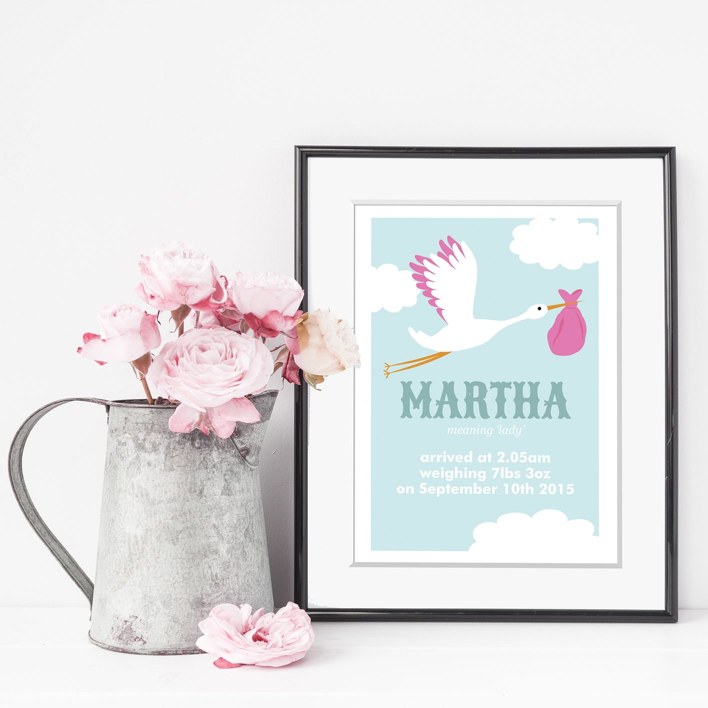 Personalised baby name stork prints personalised new baby gifts personalised baby name stork prints negle Gallery