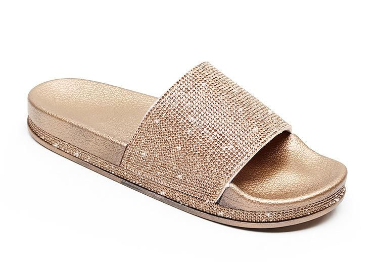 140f6d140ef0ed Women s Beach Slippers Gold Slippers Leisure Rhinestone Sequin Non-slip  Wearable Thick Soled Women Sandals  womensclothing  dresses  womens   swimsuits ...