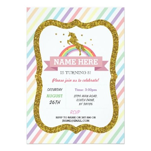 Unicorn Birthday Invitation Party Gold Glitter Rainbow Invite