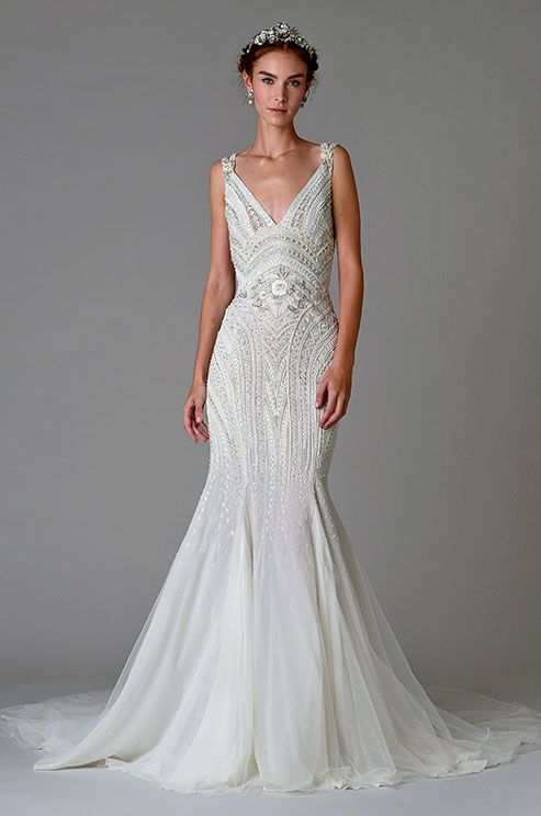 Architectural Floral Thread Work And Embroidery In Trumpet Wedding Dress With Layered Skirt Marchesa