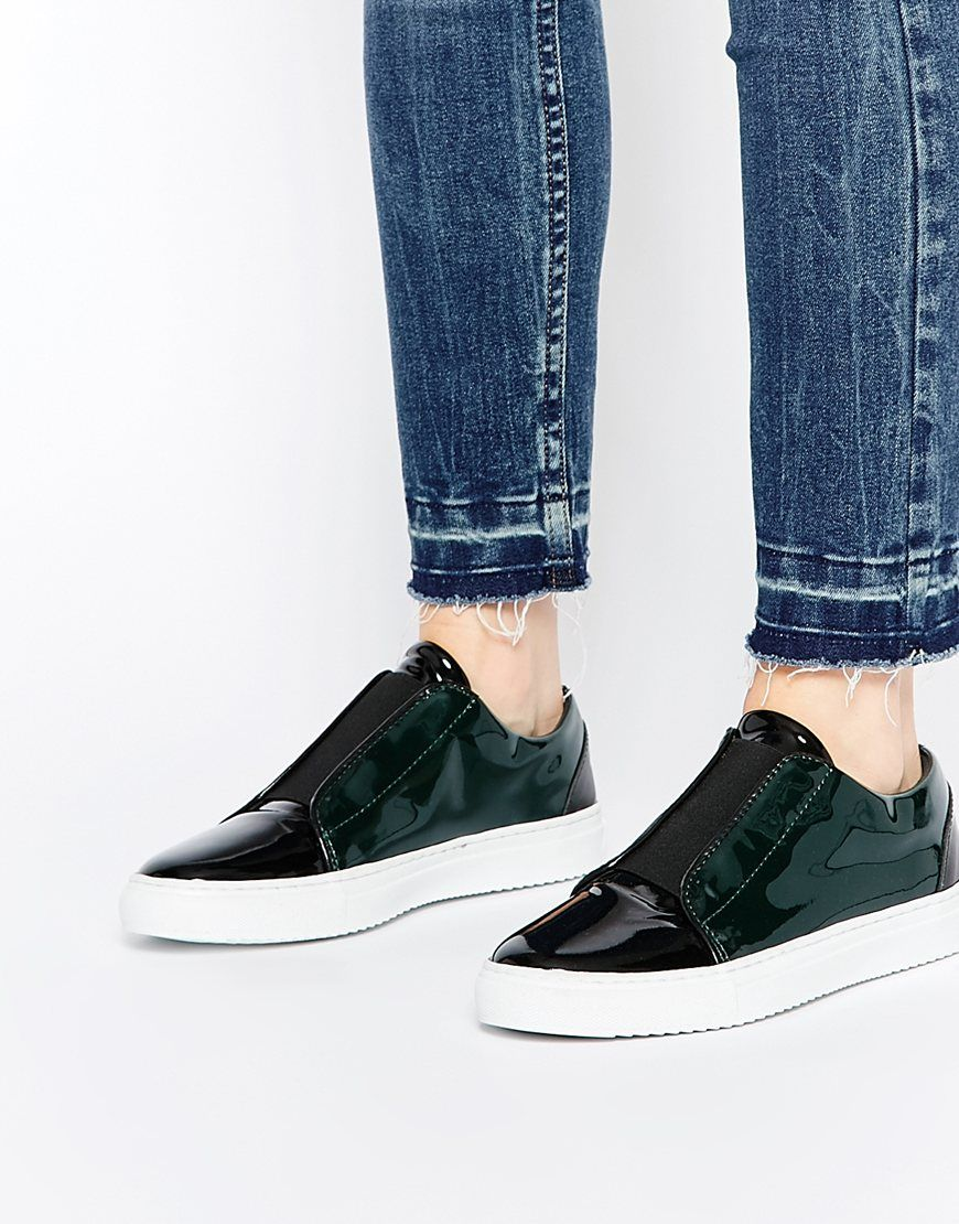 Buy Women Shoes / Selected Femme Sereena Dark Green Patent Leather Trainers
