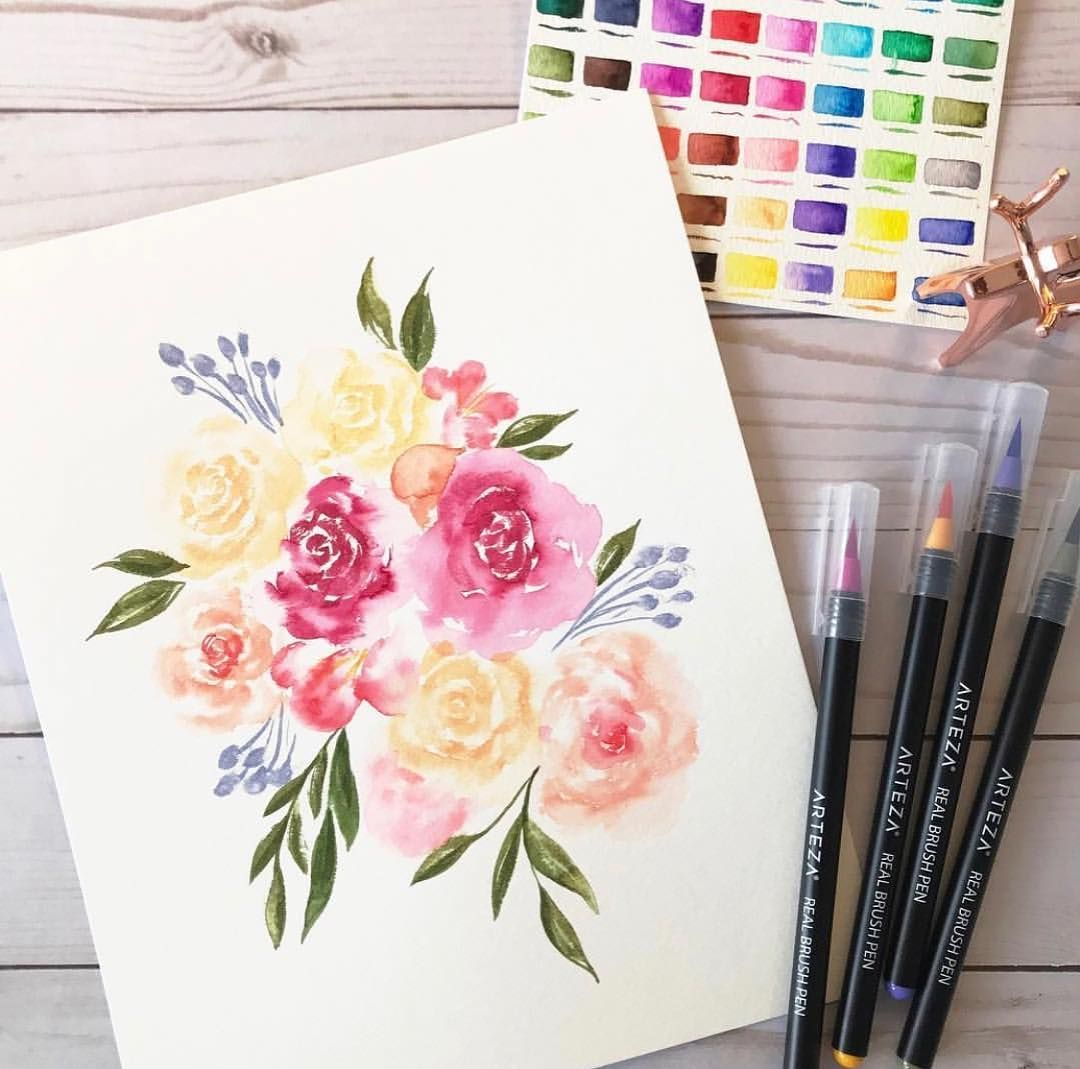 This Gorgeous Bouquet Created With Arteza Real Brush Pens By