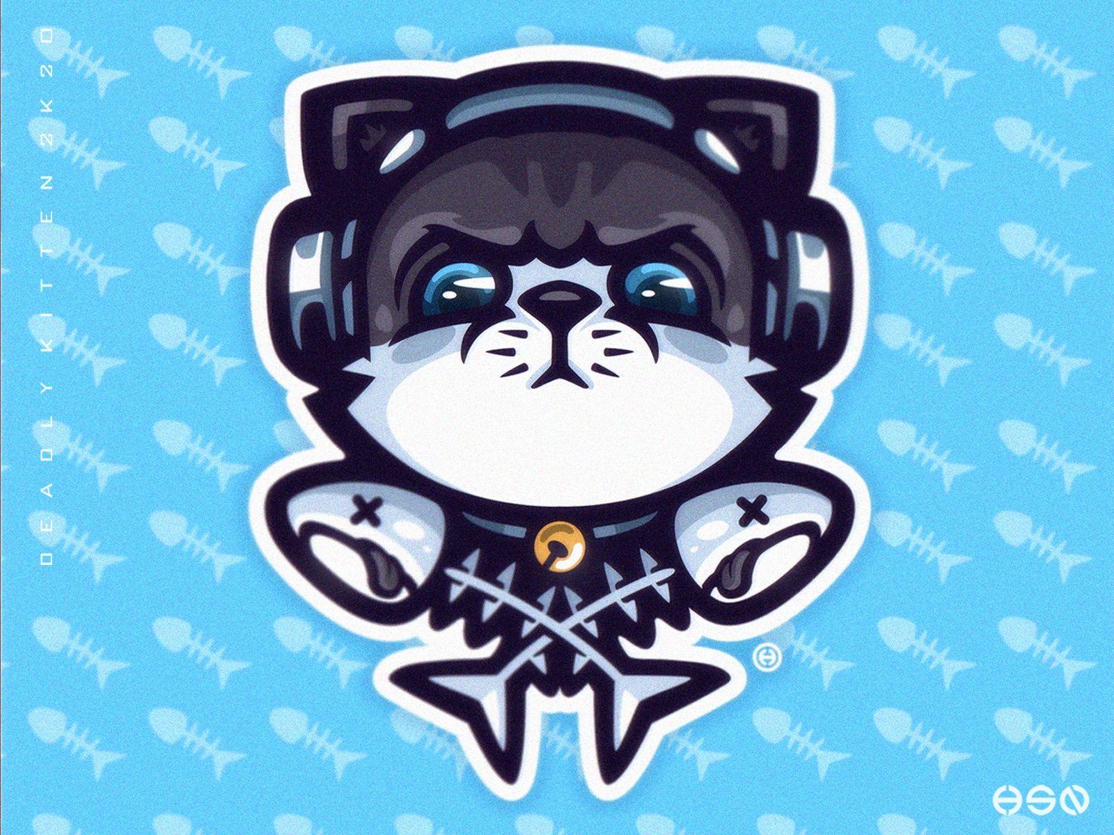 Deadly Kitten Cat Kitten Mascot Logo In 2020 Mascot Game Logo Design Mascot Design