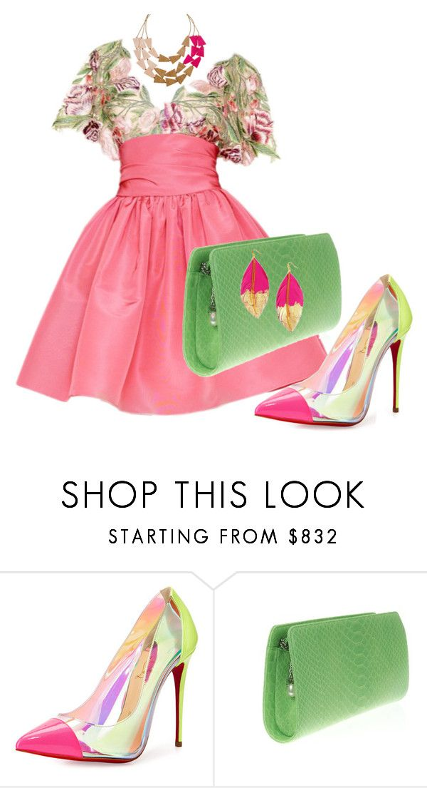 """""""Bright Colors For Spring"""" by andreaaitken ❤ liked on Polyvore featuring Marchesa, Christian Louboutin and Chanel"""