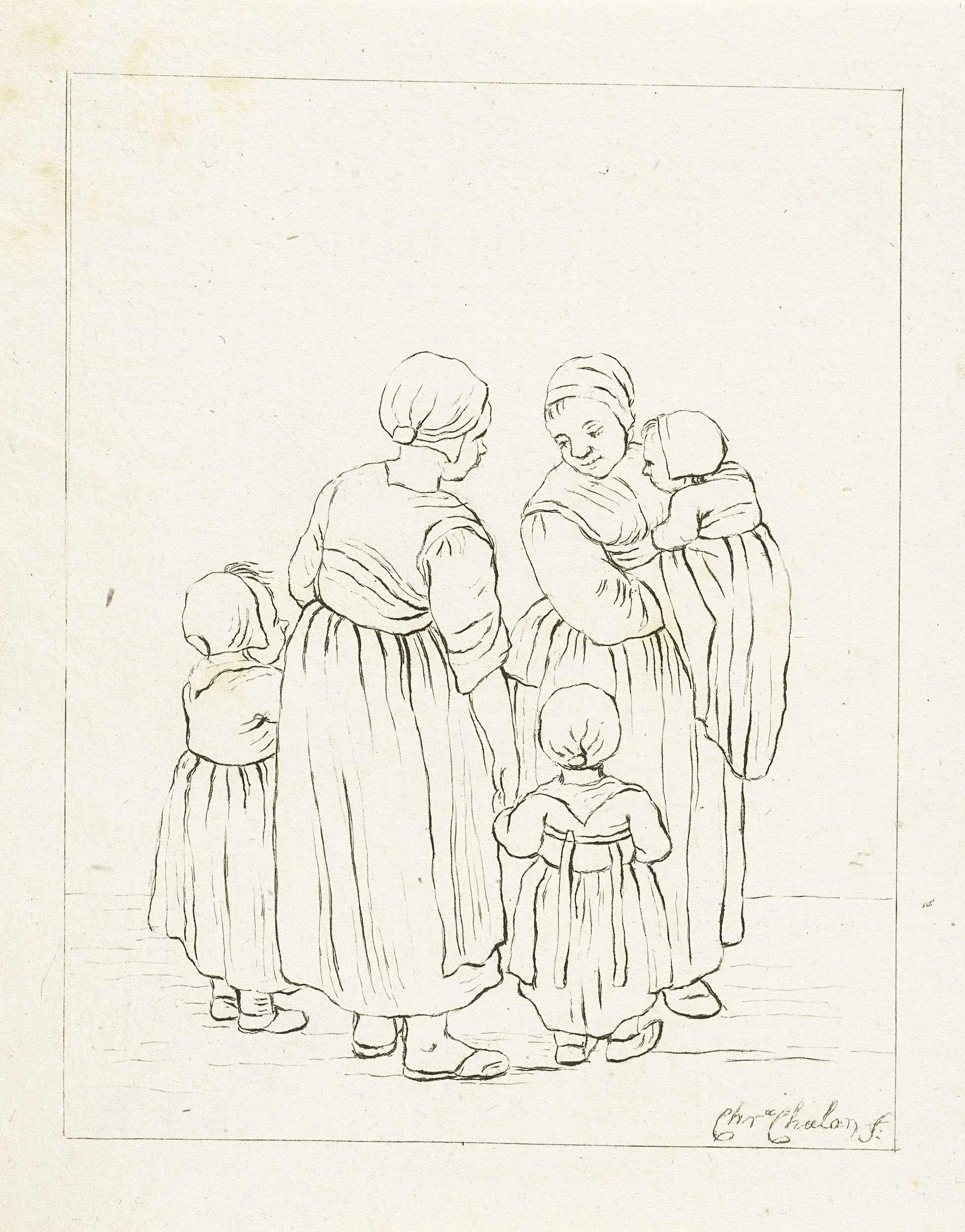 Twee moeders in gesprek, Pieter de Mare, 1777 - 1779