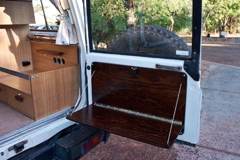 Rear door table Campervan interior, Truck camping, Door