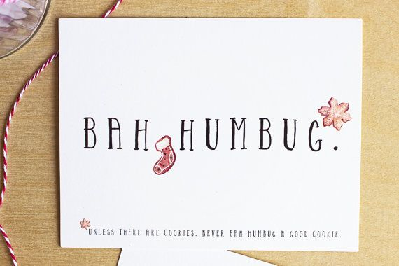 Bah Humbug holiday postcards  funny by SunshineandRavioli2 on Etsy