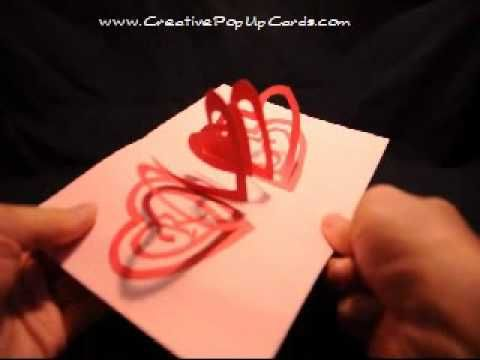 Valentines Day Pop Up Card Spiral Heart Crafting – Pop out Valentines Day Cards