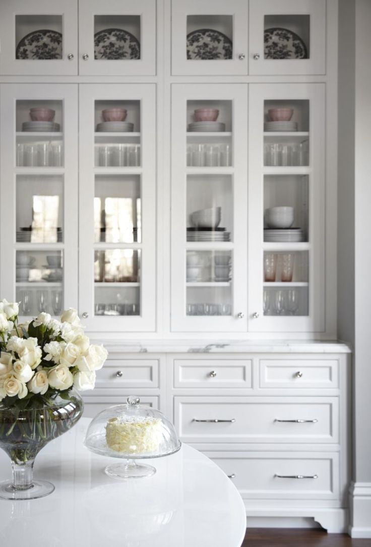 Beautiful White Kitchen Inset Cabinets Glass Doors Marke