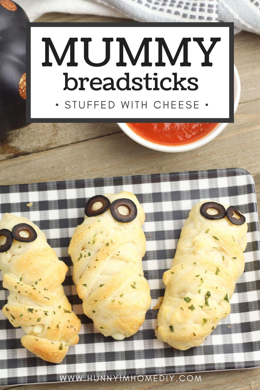 Halloween Finger Foods Cheese Stuffed Mummy Breadsticks