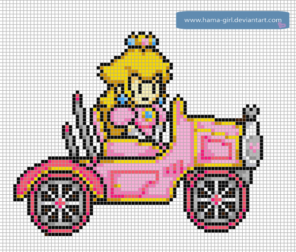 Peach In A Car By Hama Girl Pixel Art Grid Pixel Art