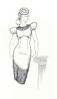 Перевод выточки в выкройке женского платья