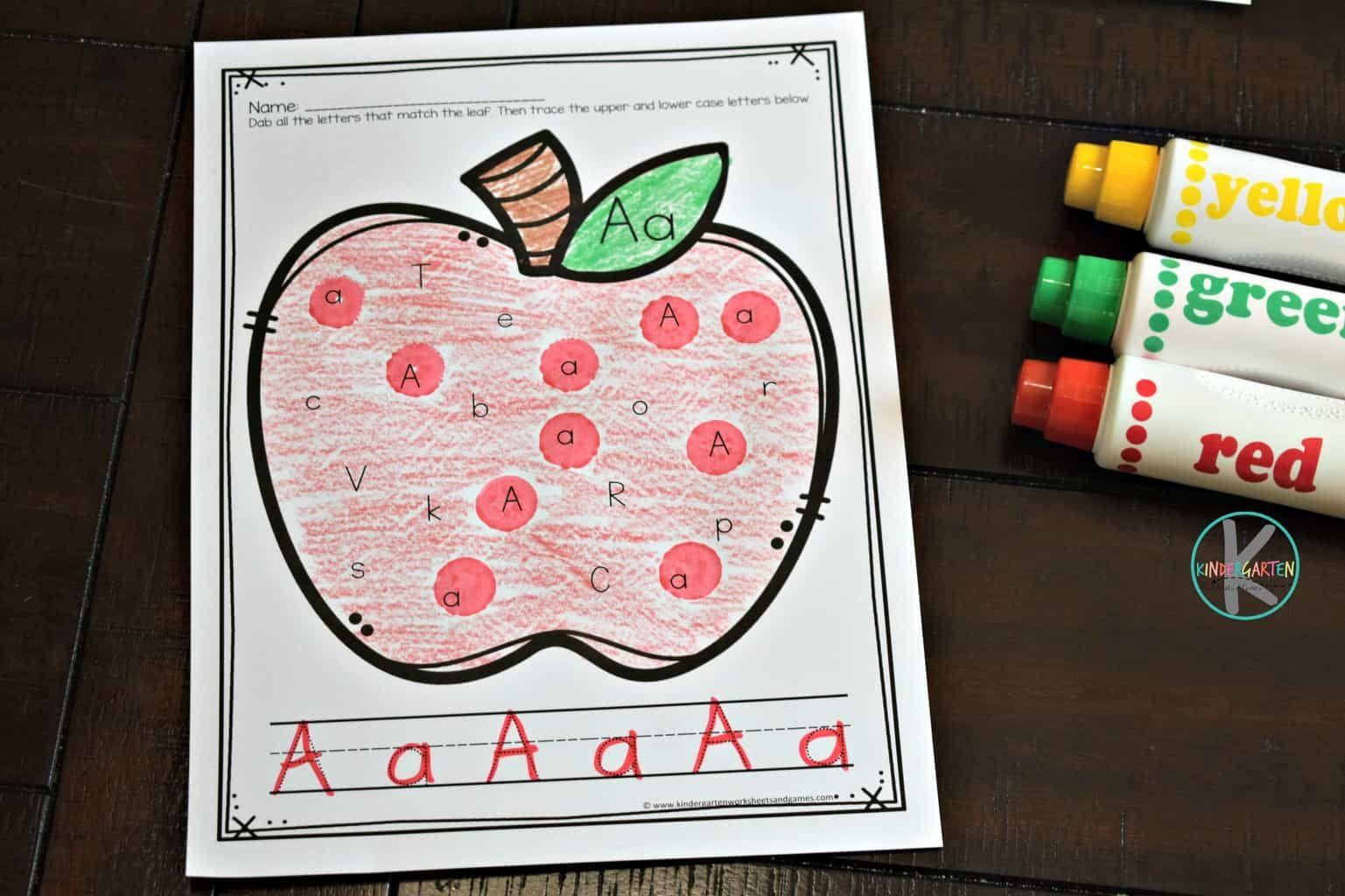 Apple Alphabet Letter Tracing Worksheets