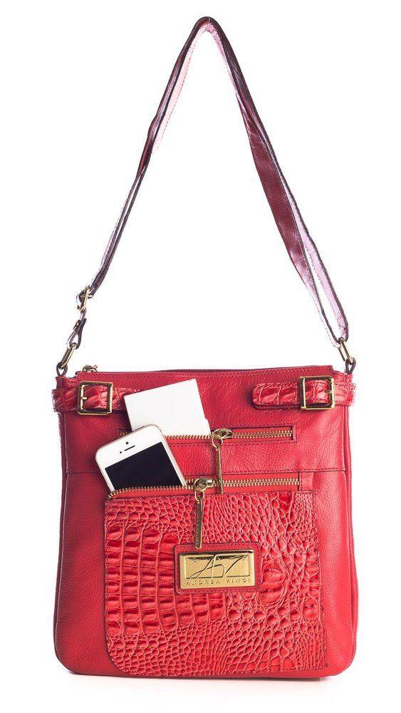 523845dda8489 Bolsa tiracolo em couro Andrea Vinci vermelha - Enluaze - Bolsas