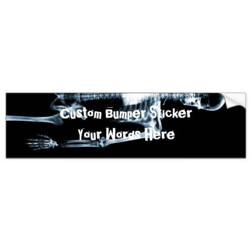 X ray vision blue single skeleton bumper sticker