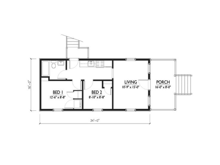 16x36 floor plan - Google Search | Shed to house | Cottage style