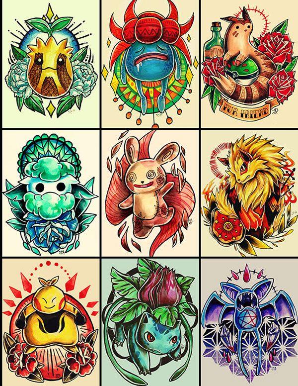 Pokemon Tattoo Designs On Behance Pokemon Tattoo Pokemon Tattoo Designs