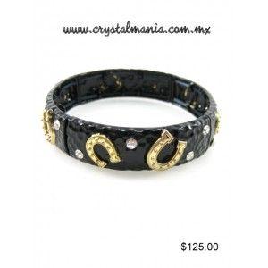 Pulsera ajustable country en color negro con cristales y detalles de herradura en color dorado estilo 50063
