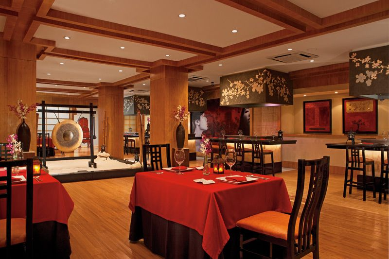 Pan Asian dishes are served in the contemporary, elegant dining room of Himitsu Restaurant at Secrets Capri.