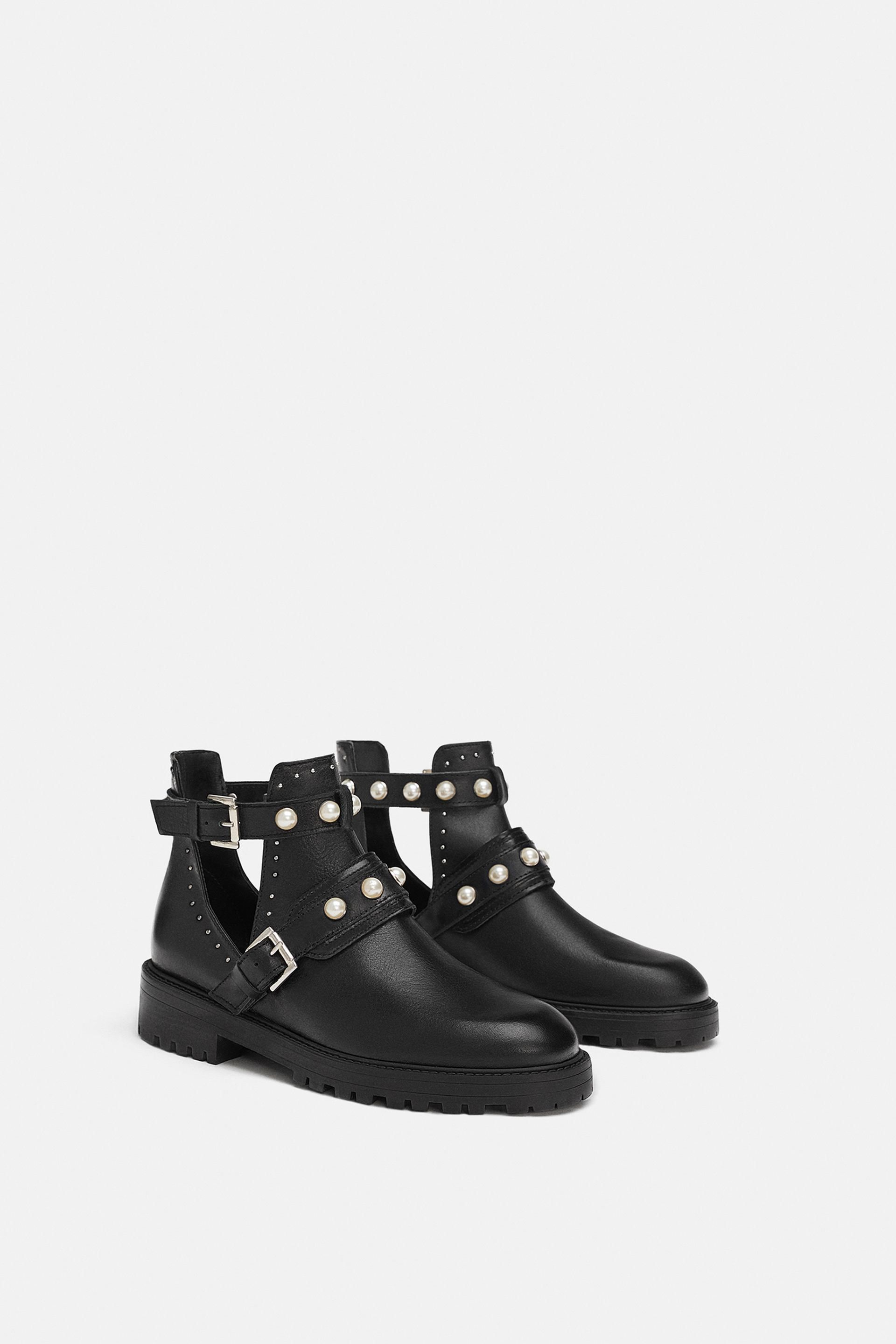 ec4ade79d6 ZARA - WOMAN - LOW HEELED LEATHER ANKLE BOOTS WITH PEARLS