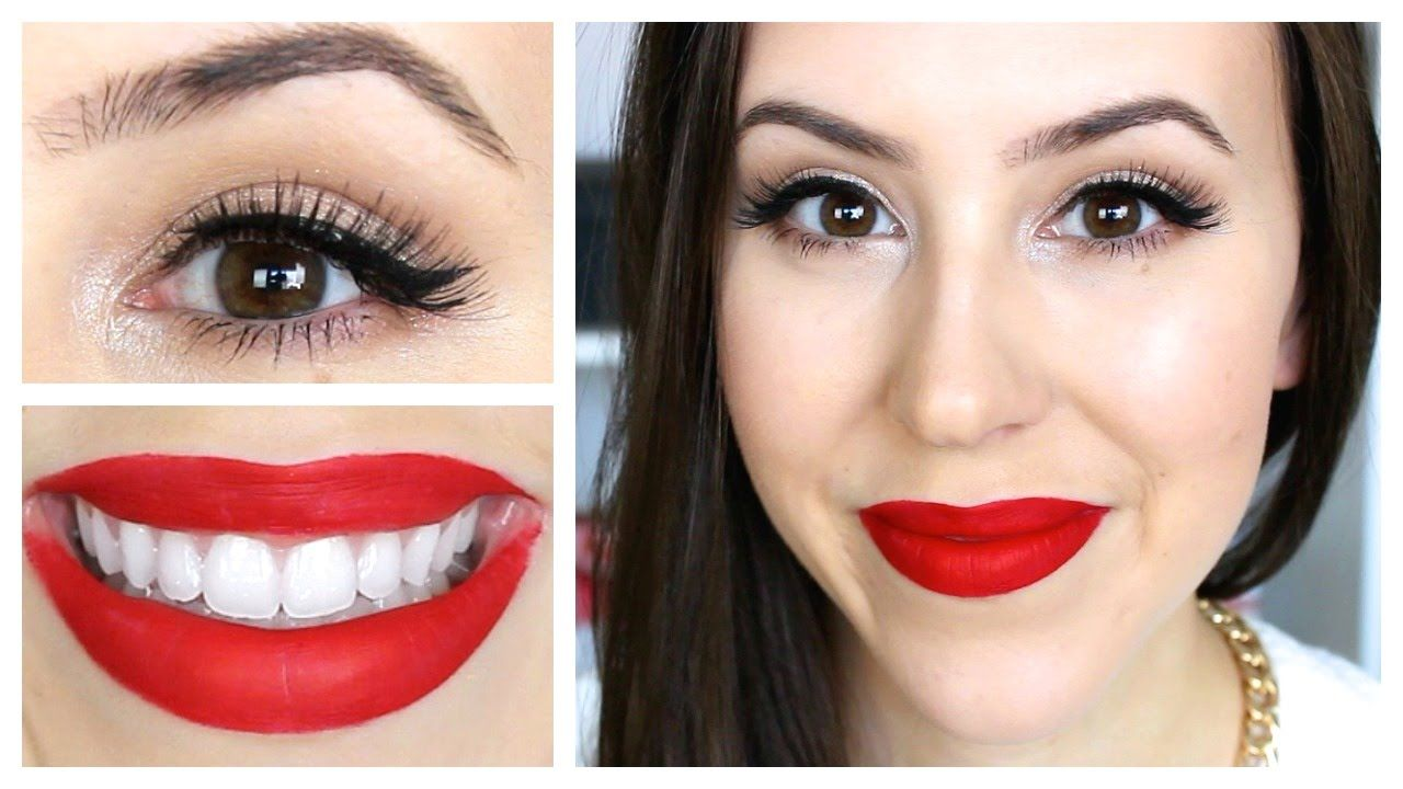 Easy classic holiday makeup look red lips and sparkly gold eyes easy classic holiday makeup look red lips and sparkly gold eyes baditri Gallery