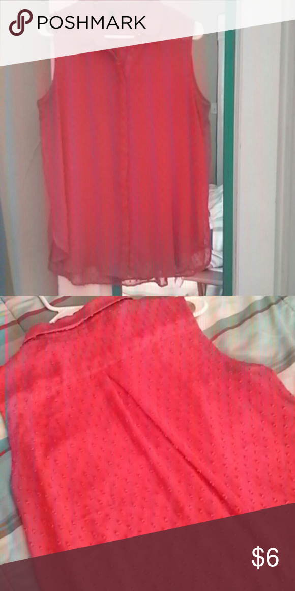 Coral Blouse Sleeveless button up, pleated back, sheer Tops Button Down Shirts