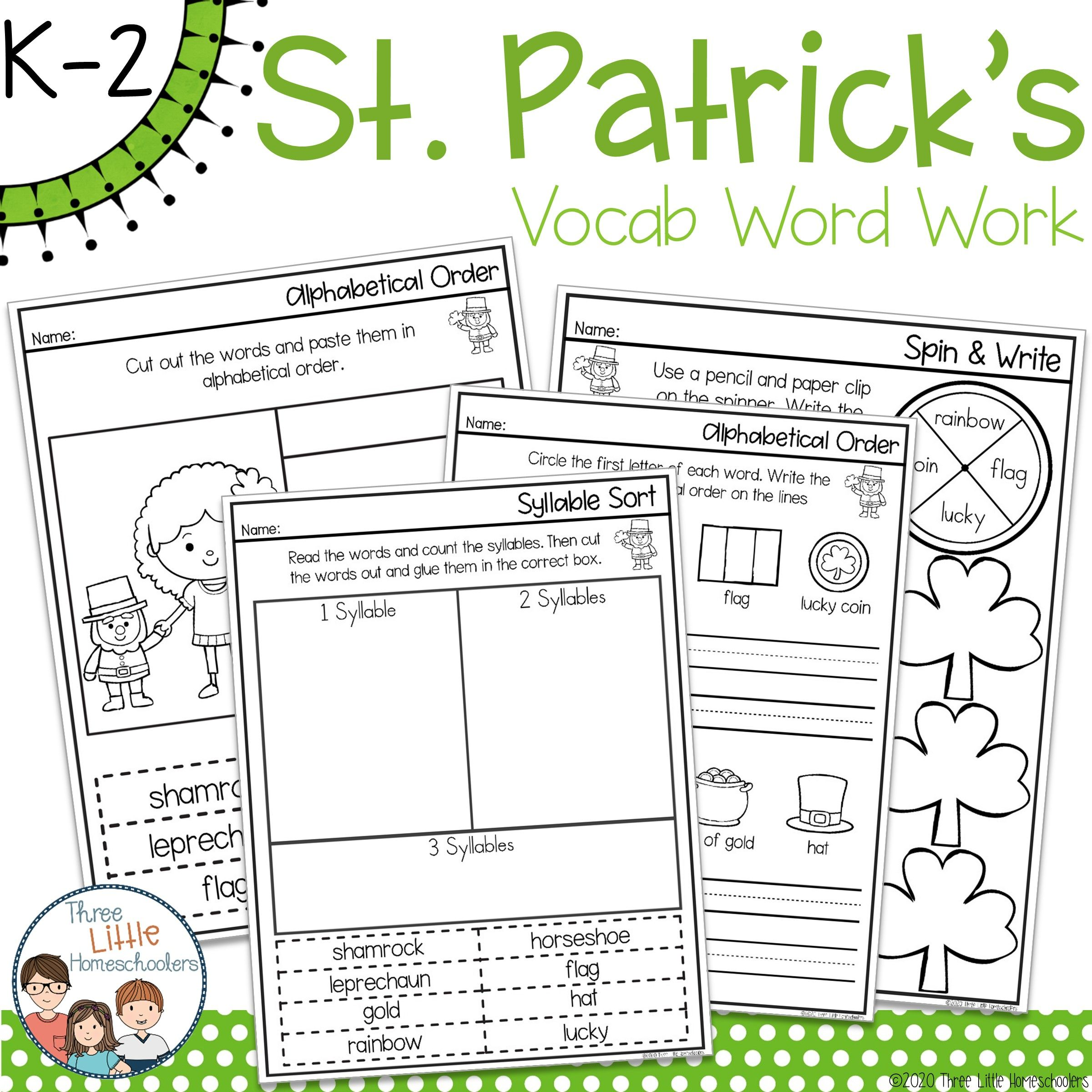 St Patrick S Day Spelling Word Work Pack