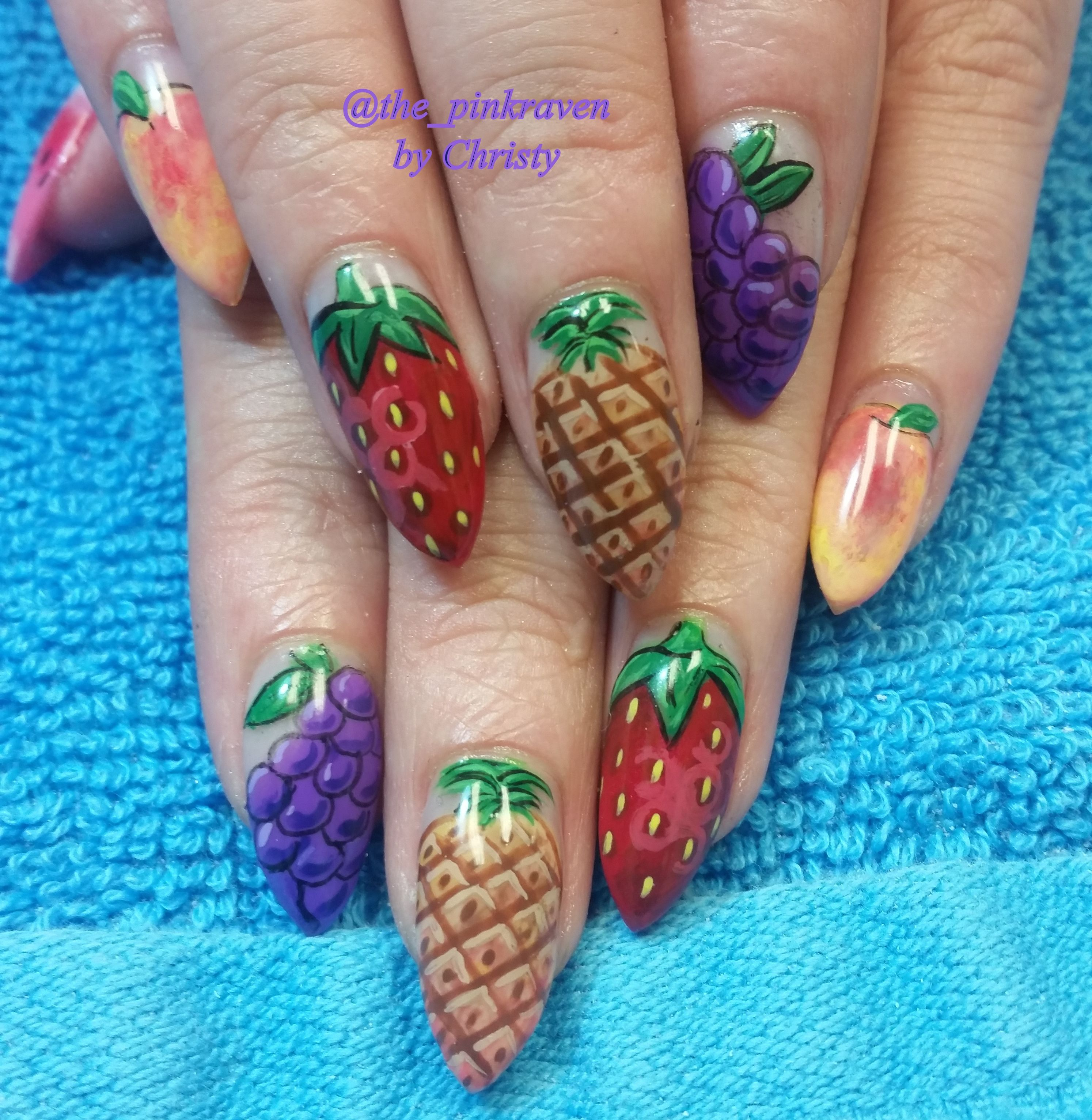 Fruit nail art pink raven strawberries grapes peaches watermelon pineapple handpainted
