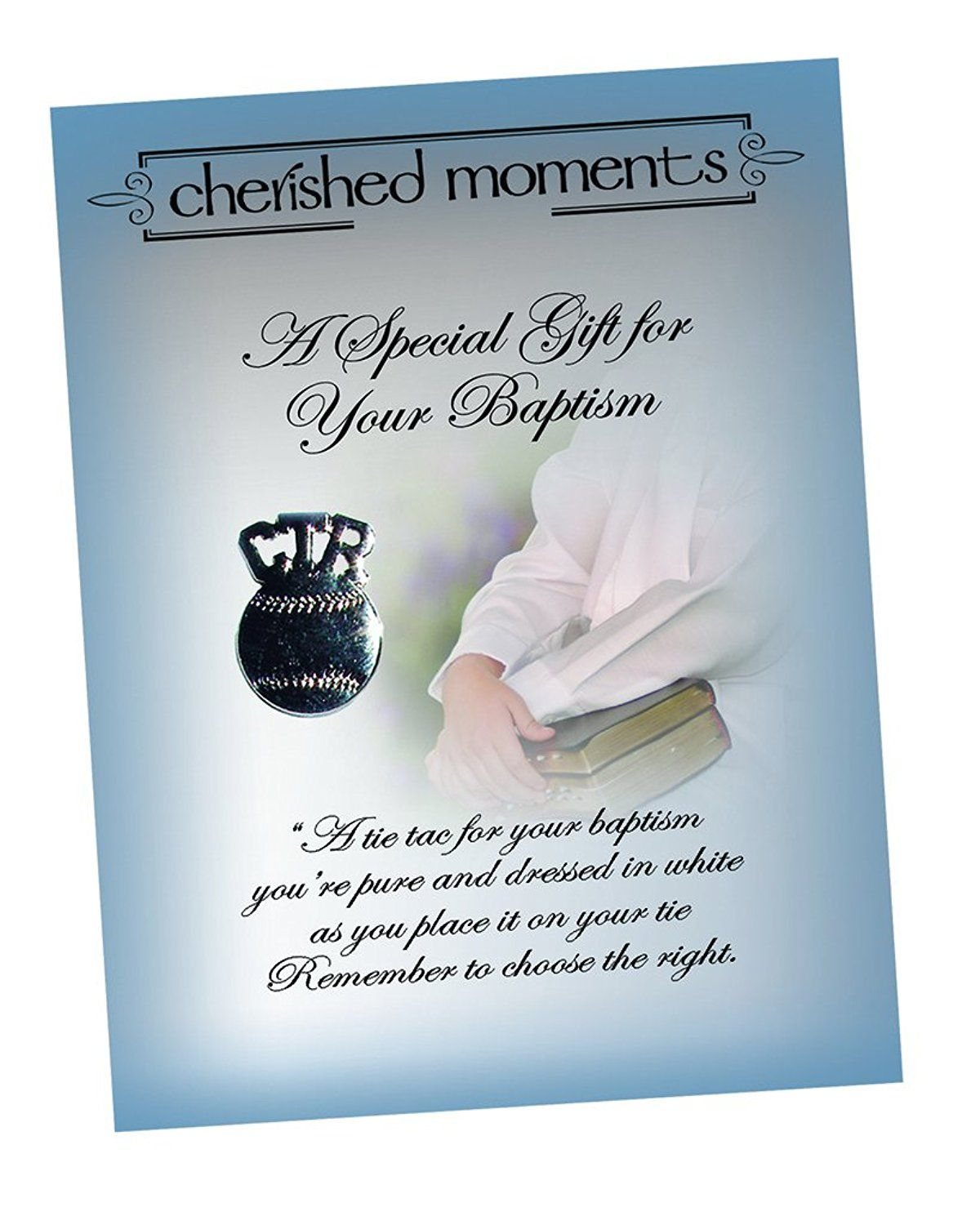 Silver Tone Cherished Moments Tie Tack for LDS Missionary Gift