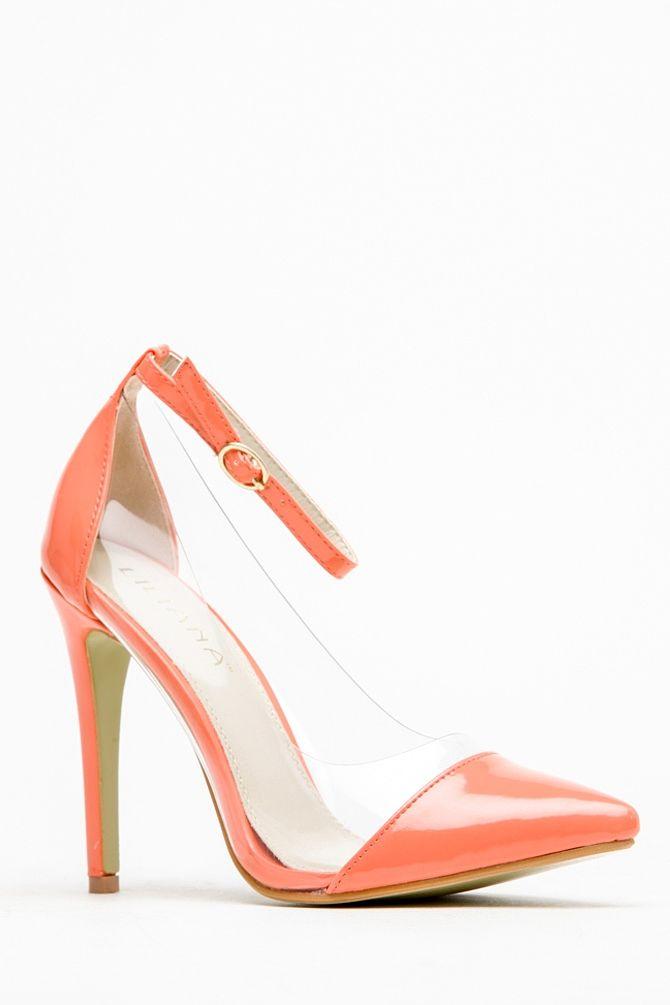 a0e486cc31a Liliana Coral Pointed Toe Ankle Strap Vinyl Heels @ Cicihot Heel ...