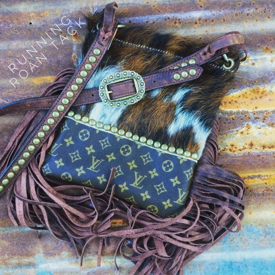 Blue turqouise cowhide fringe purse made with Pendleton fabric