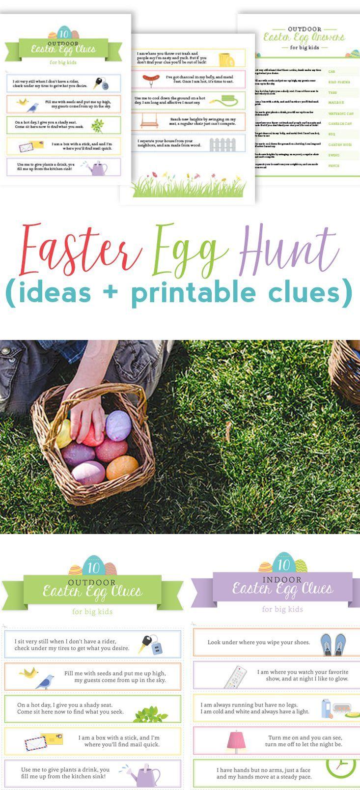 Easter Egg Hunt Ideas for Kids + Free Printable Clues | Easter, Egg ...