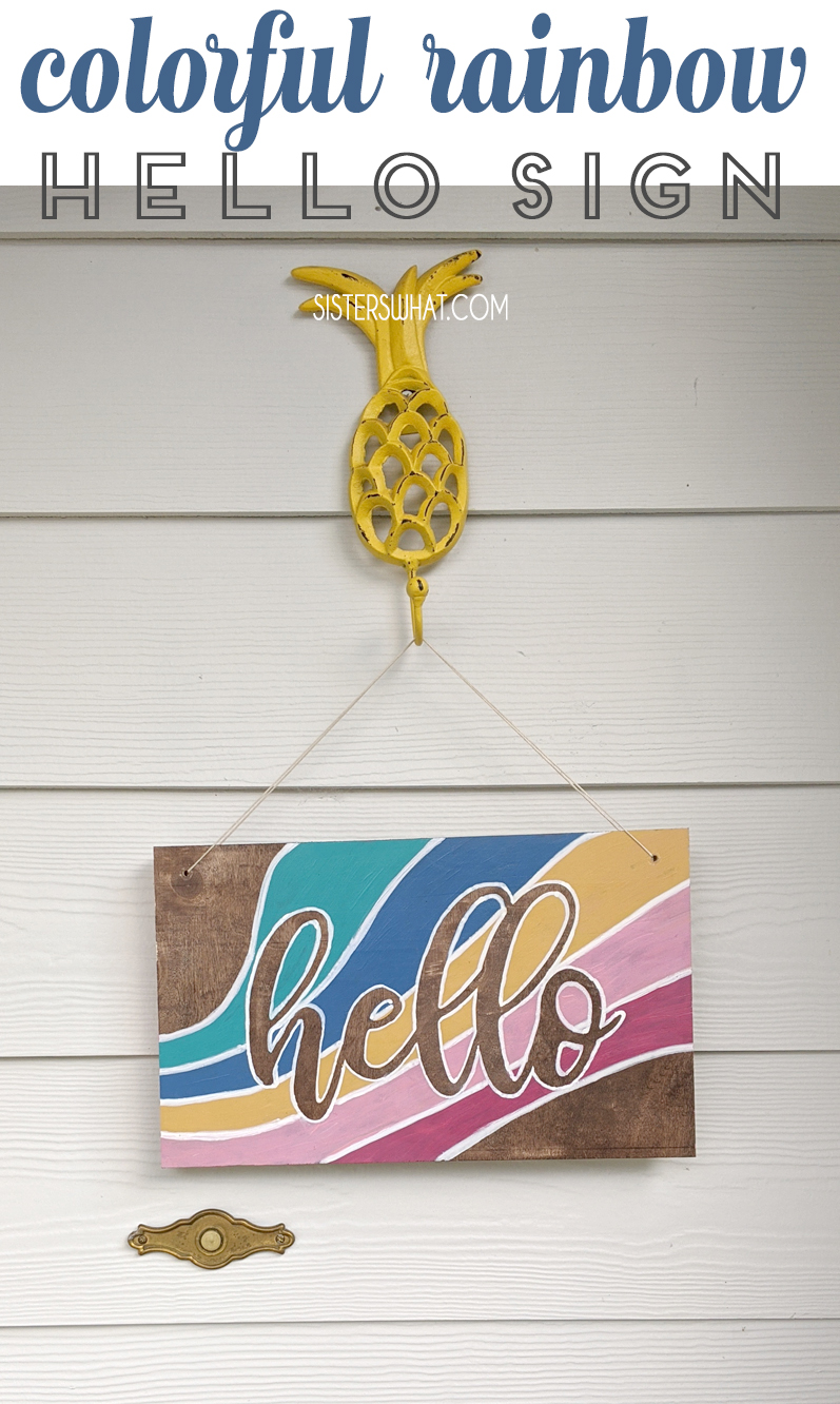 Diy House Number Sign And Colorful Hello Sign In 2020 House Numbers Diy Hello Sign Diy Floral Wreath