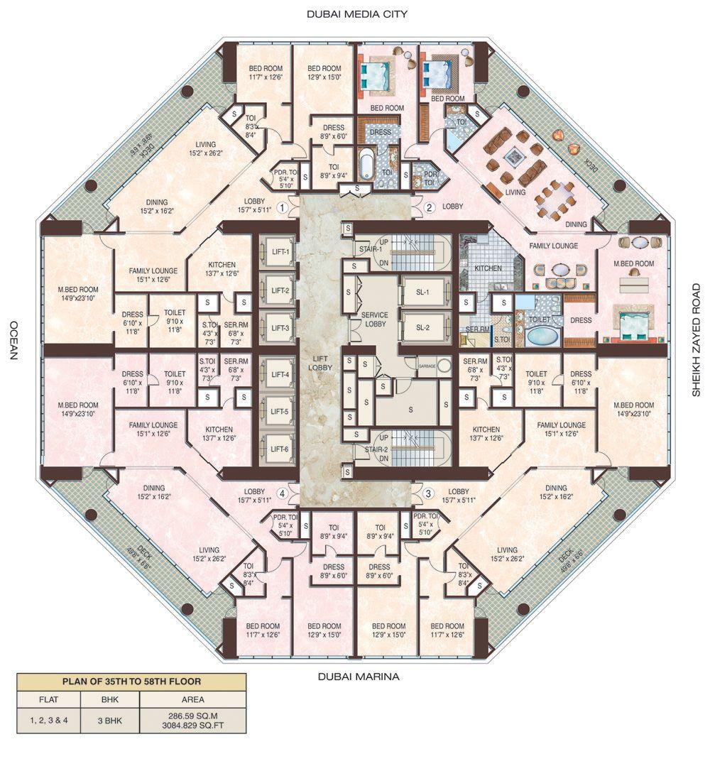 23 Marina Dubai Floors 35 58 Hotel Floor Plan Residential Building Plan Apartment Floor Plans