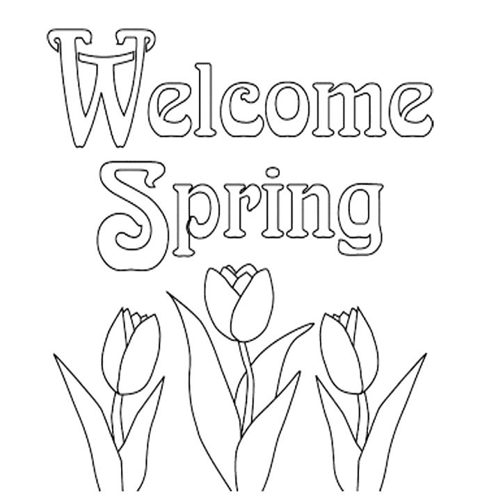 Print Out Spring Flowers Tulips Coloring Page For Kids ...