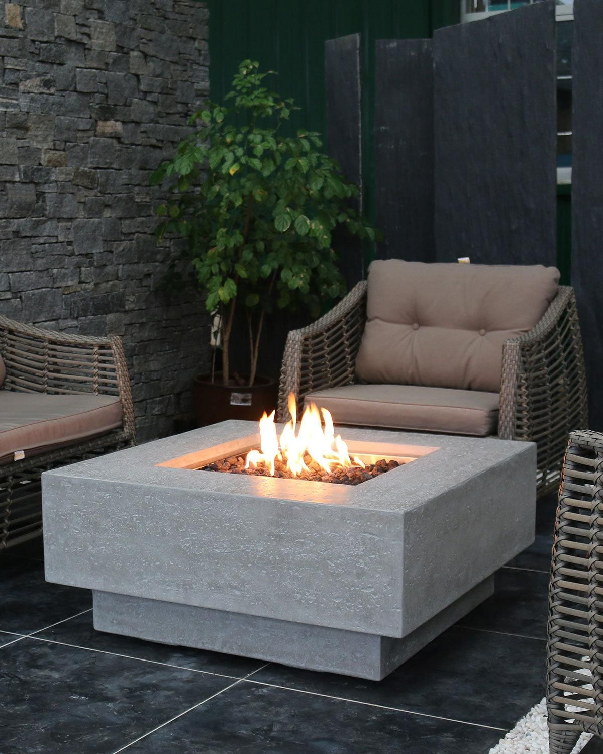 Elementi Manhattan Outdoor Fire Pit Table With Natural Gas