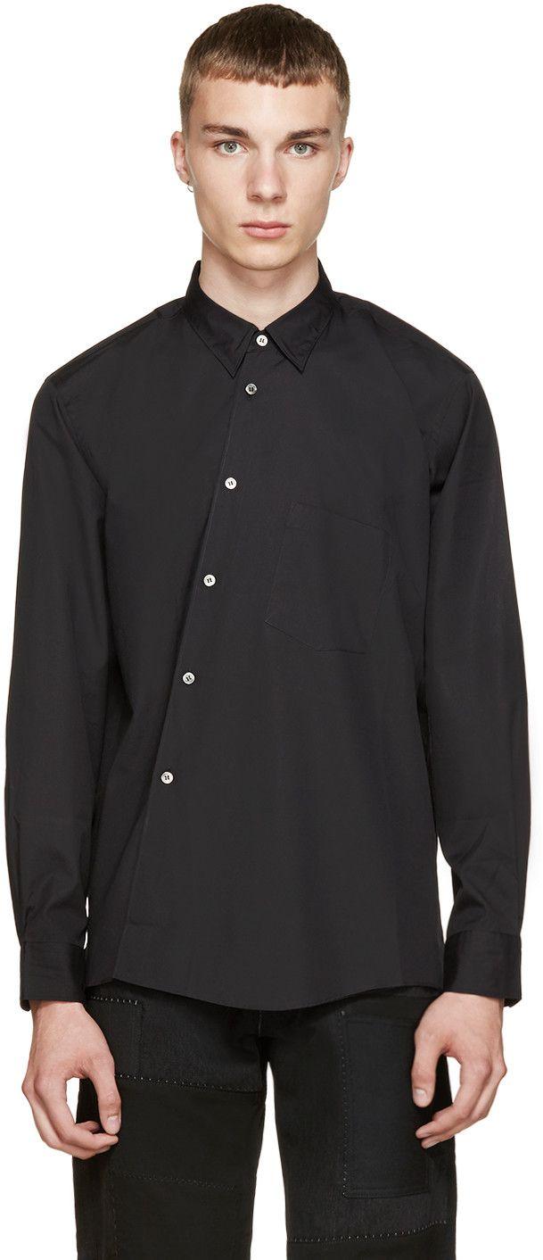 Comme des Garçons Homme Plus: Black Angled Placket Shirt   SSENSE
