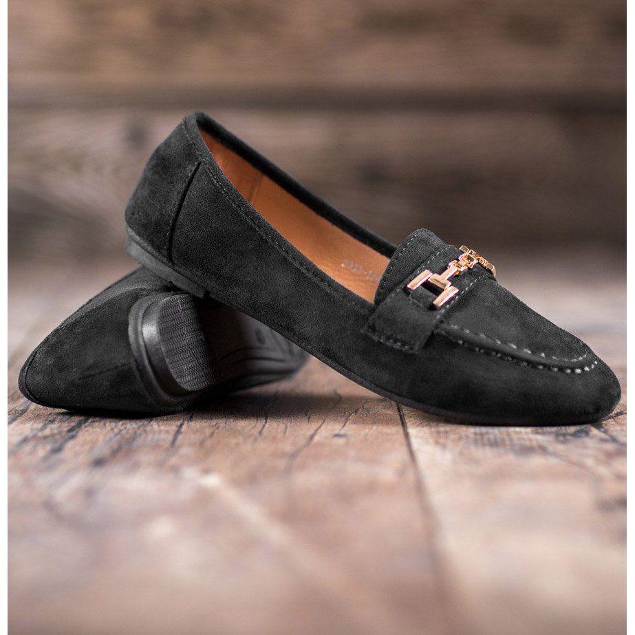 Abloom Zamszowe Lordsy Z Ozdoba Czarne Suede Ballerina Heels Types Of Heels