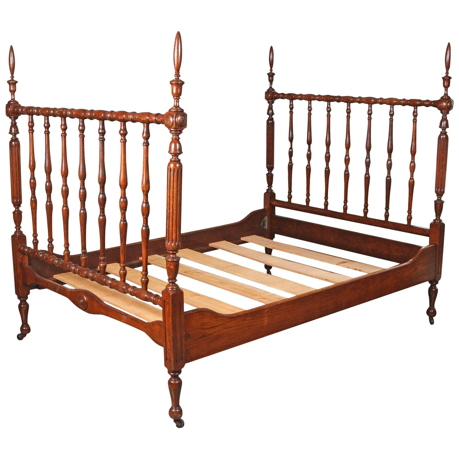 1930s Walnut Spindle Full Sized Bed Frame, Newly Polished