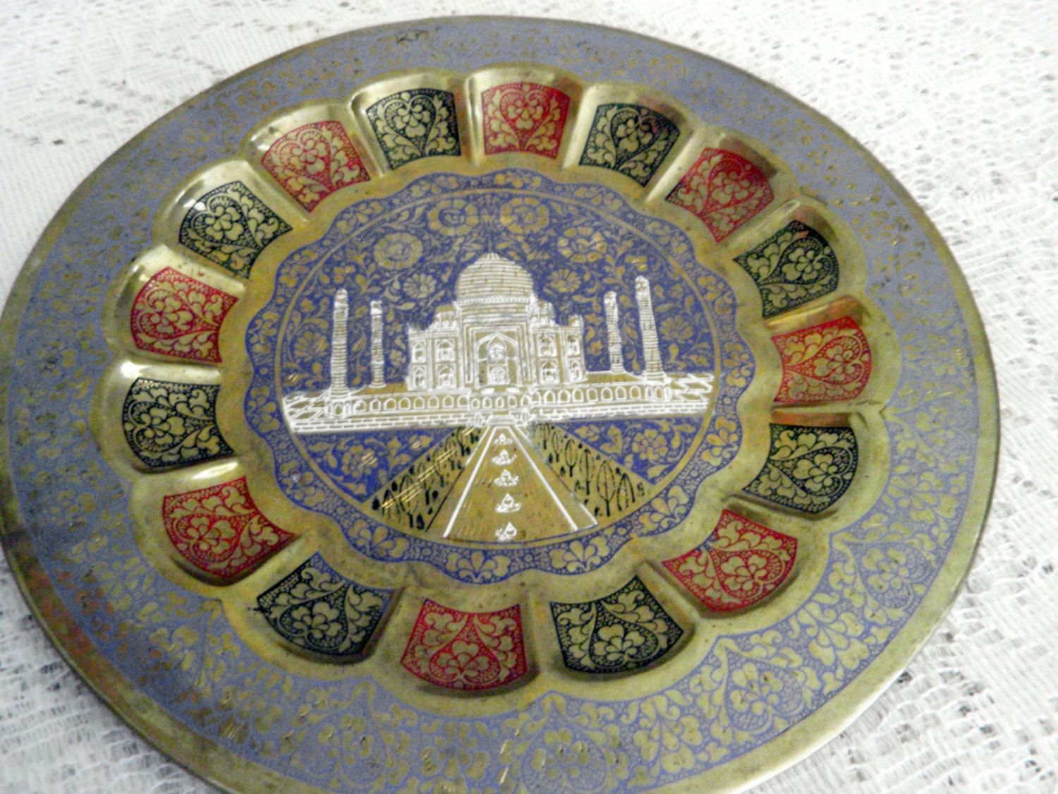 Blue Decorative Wall Plates Adorable Brass Wallplate Taj Mahal Decorative Wall Art Brass Plate Design Decoration