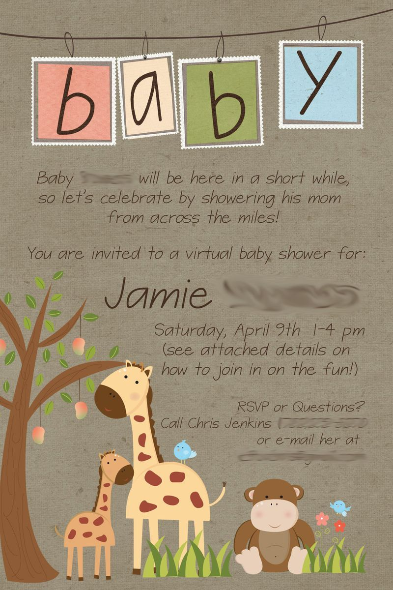 Long distance baby shower invitation, virtual baby shower, military ...