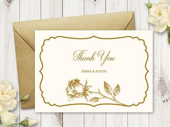"thank you card ""vintage roses"" gold printable wedding"