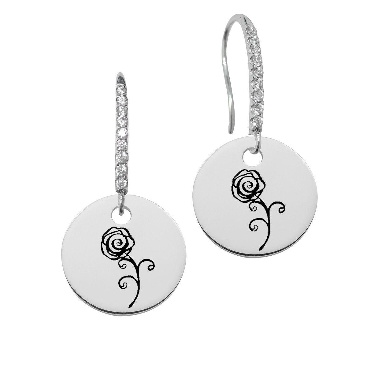 Alpha omicron pi symbol round charm and cz earring in solid alpha omicron pi symbol round charm and cz earring in solid sterling silver biocorpaavc Gallery