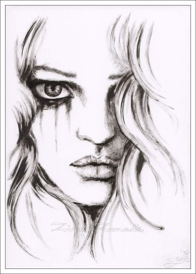 Drawings  Zindy-Zonedk - Ink Drawings - Black Tears -4053